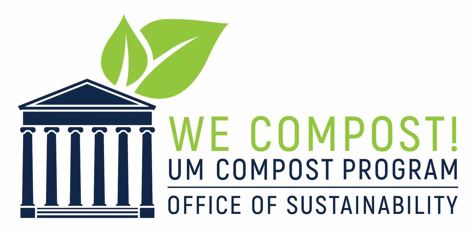 Logo of Two leaves protruding from top of silhouette of structure with columns for University of Mississippi Office of Sustainability We Compost